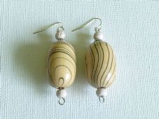 Big wooden rice bead earrings